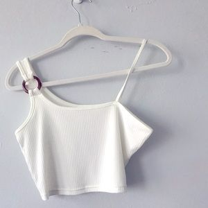 White One Shoulder Cropped Top Size Small